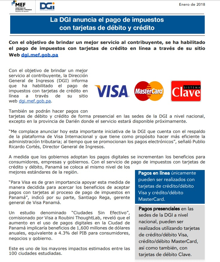 online payments, Tax Department notice, tax payments, property taxes, income tax, payment options, visa, mastercard, debit card, Clave, Panama, Panama lawyers